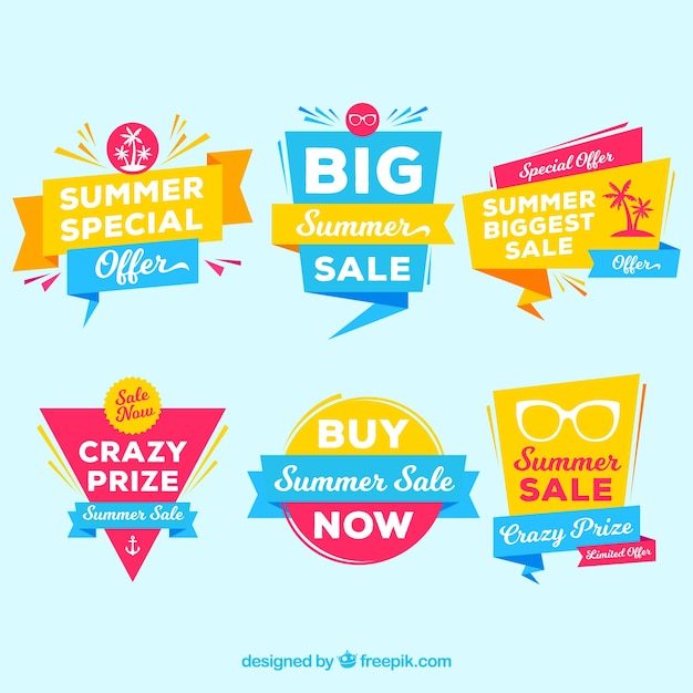 Collection of modern summer sale stickers