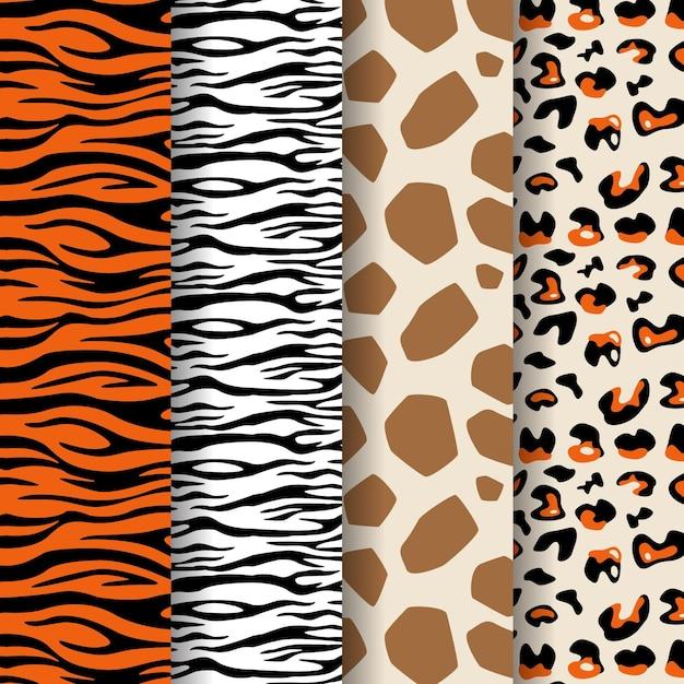 現代の野生動物の毛皮パターンのコレクション Premiumベクター