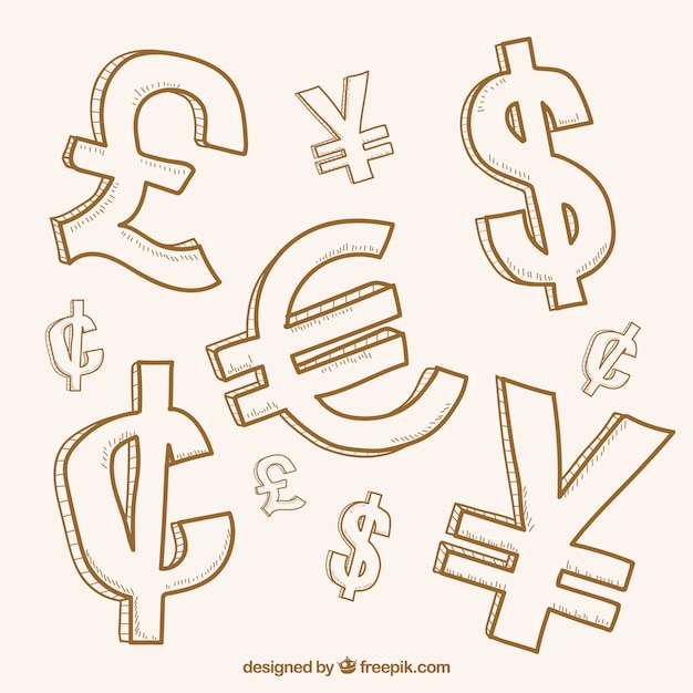Collection of money symbols Free Vector