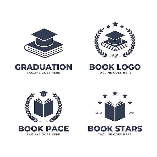 Коллекция монохромного плоского дизайна книжного логотипа Бесплатные векторы