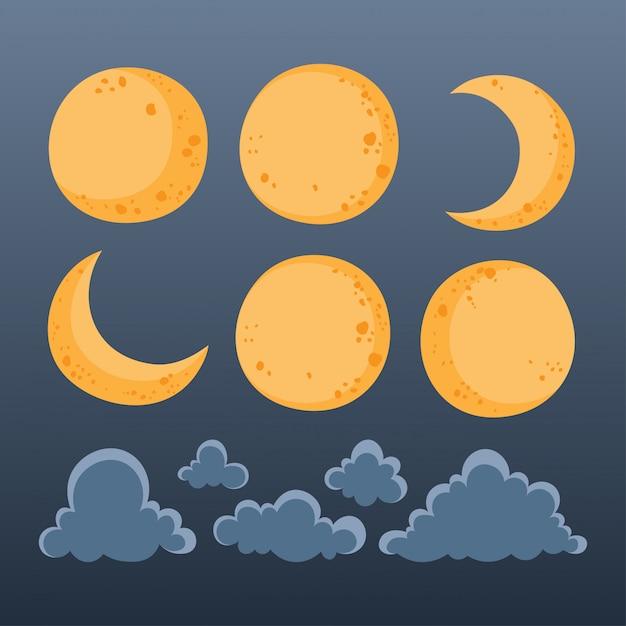 夜空の月と雲のコレクション。 Premiumベクター