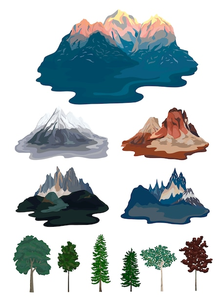 Collection of mountain and tree\ illustrations