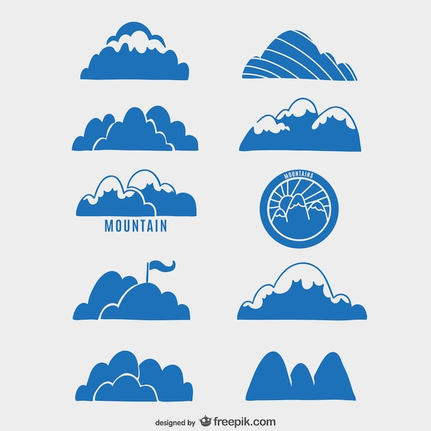 Collection of mountains labels