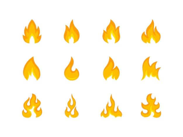 Коллекция разноцветных форм пламени Premium векторы