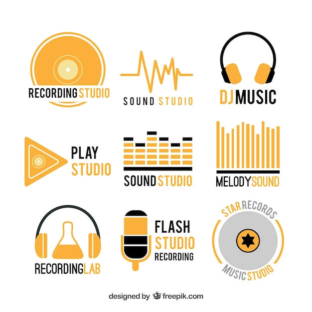 collection of music logos vector free download