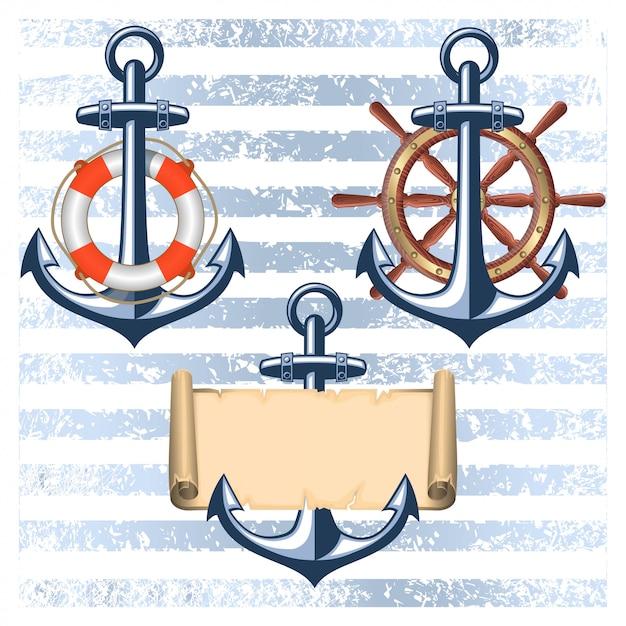 Коллекция морских элементов дизайна Бесплатные векторы