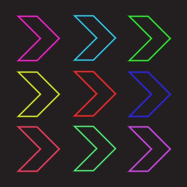 Коллекция неоновых символов со стрелками Бесплатные векторы