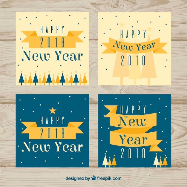 Collection of new year cards in beige and turquoise