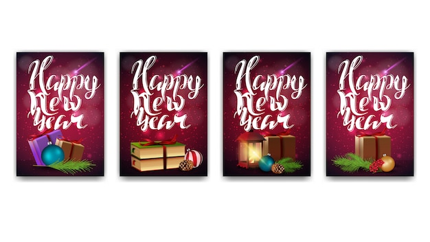 collection of new year cards with modern lettering premium vector