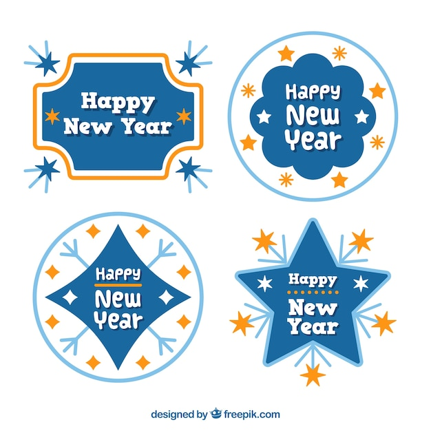 collection of new year labels in blue and orange free vector