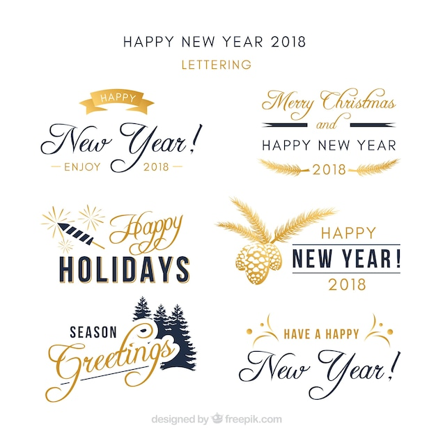 Collection of new year lettering