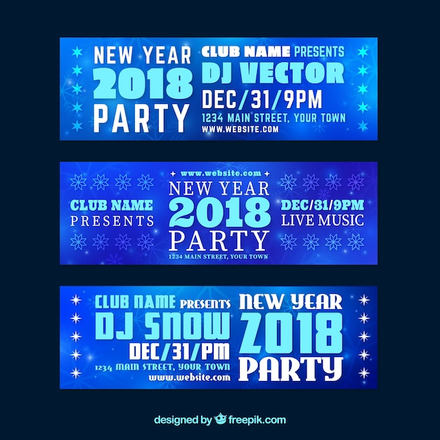 Collection of new year party banners in blue tones Free Vector