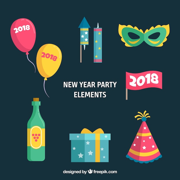 Collection of new year party elements