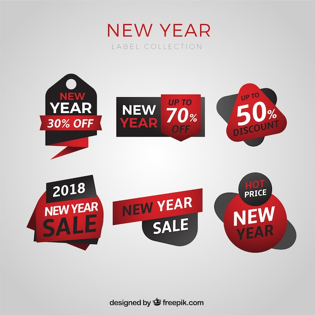 Collection of new year sale tags Free Vector