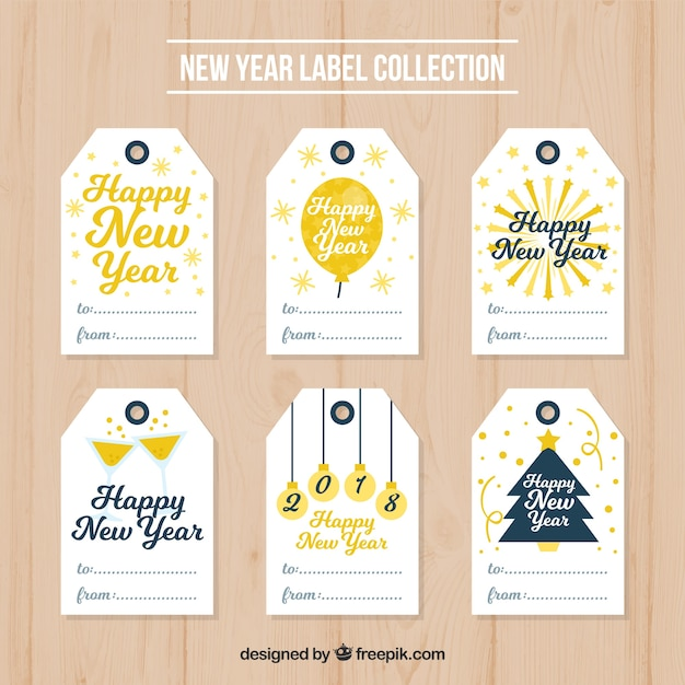 Collection of new year tags