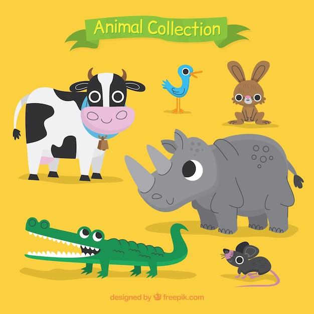Коллекция красивых животных Бесплатные векторы