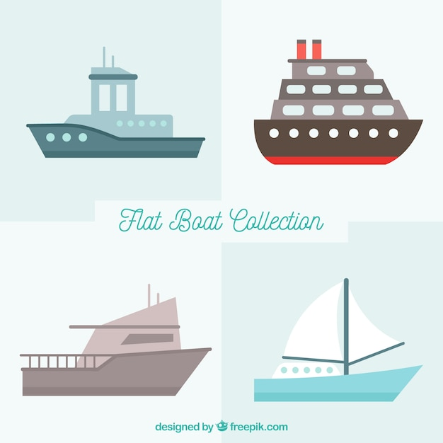 Collection of nice boats in flat design