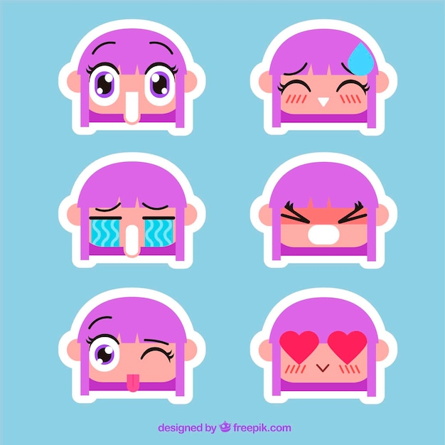 Collection of nice character stickers in flat design
