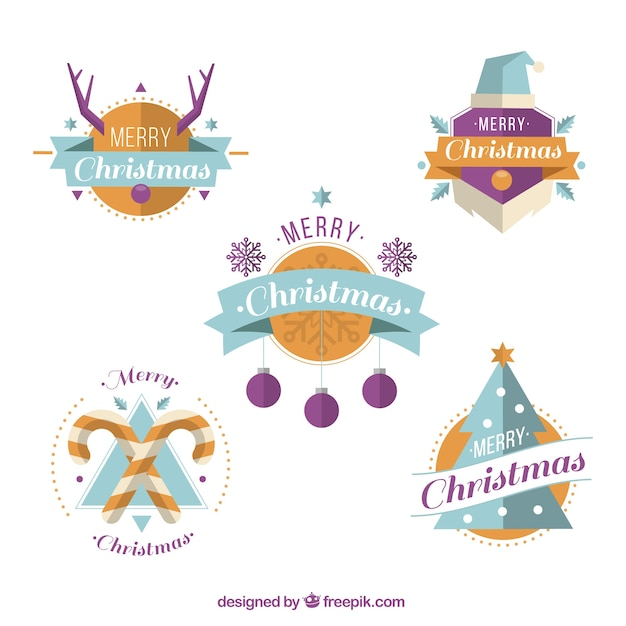 Collection of nice christmas stickers in flat design