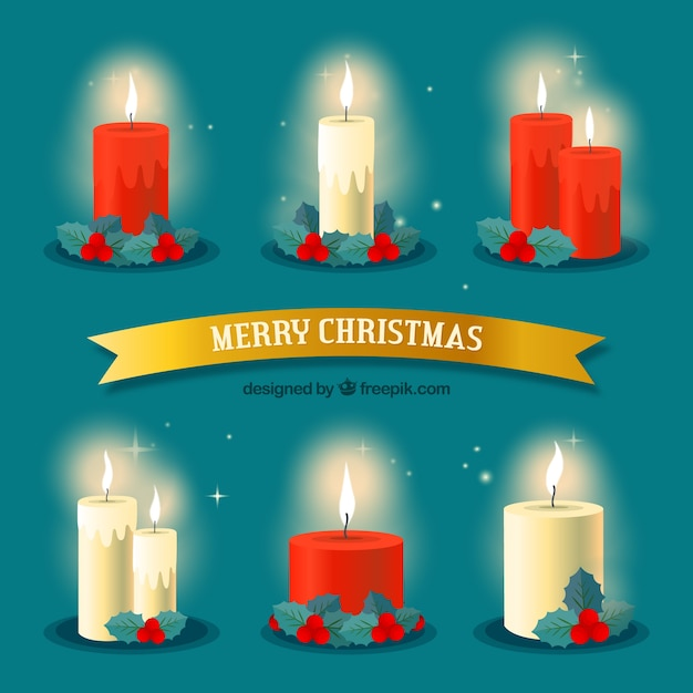 Collection of nice lit christmas candles