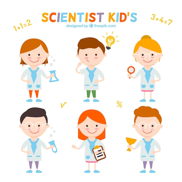 collection of nice scientist kids free vector