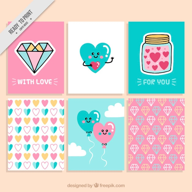 Collection of nice valentine cards with hearts and diamonds Vector – Nice Valentines Cards