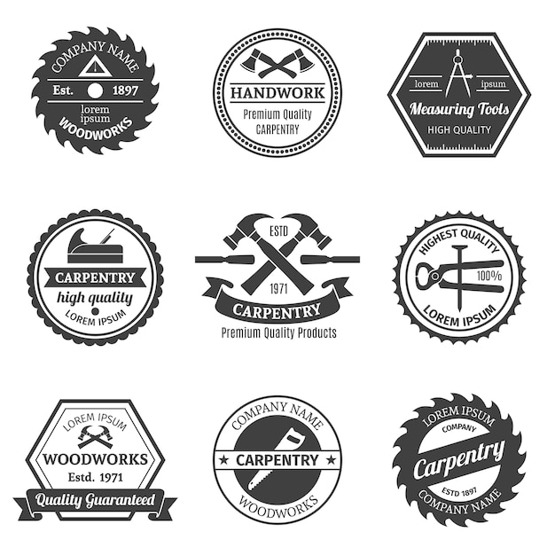 Collection Of Nine Carpentry Badges Free Vector