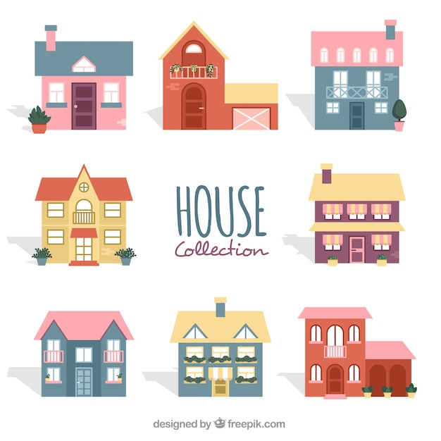 Collection Of Nine Cute Houses With Plants Free Vector