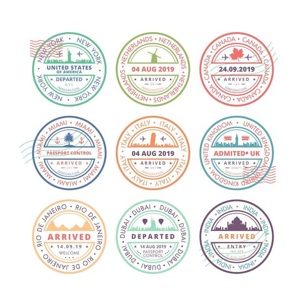 記念碑を持つ9つの丸い切手のコレクション 無料ベクター