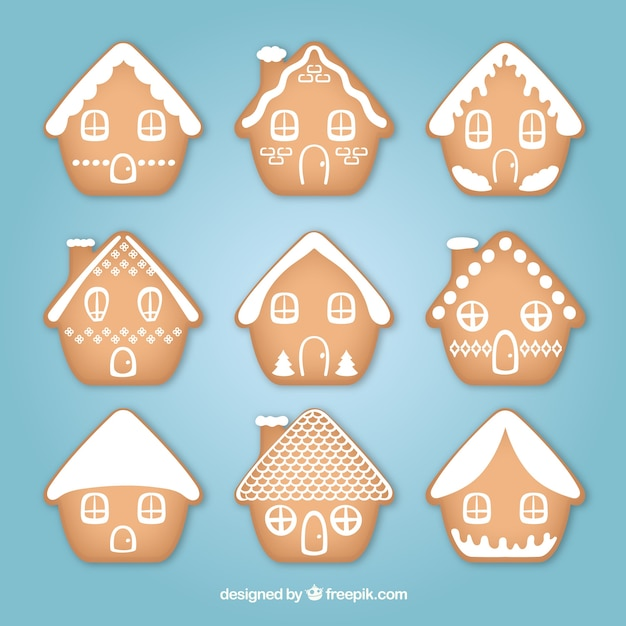 Collection of nine simple gingerbread houses
