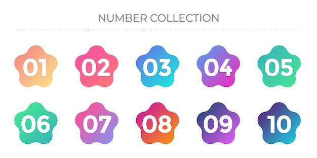 1から10までの数字のコレクション。グラデーションカラーのアイコン。 Premiumベクター