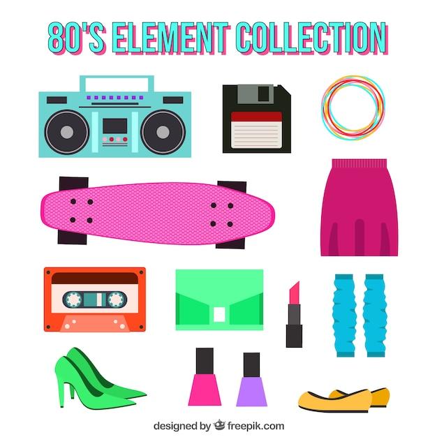 Коллекция предметов и восьмидесятых одежды Бесплатные векторы