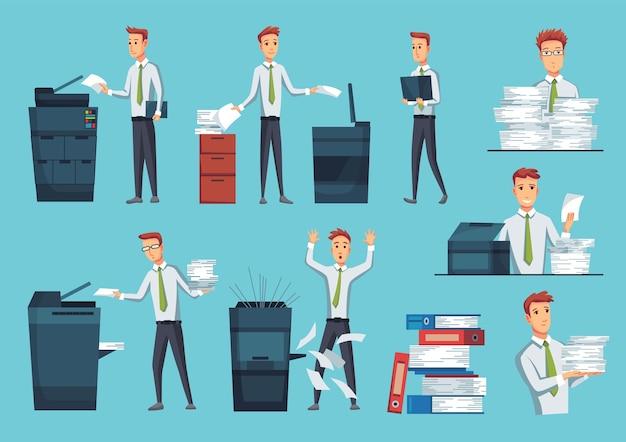 Коллекция копиров офисных документов. Premium векторы