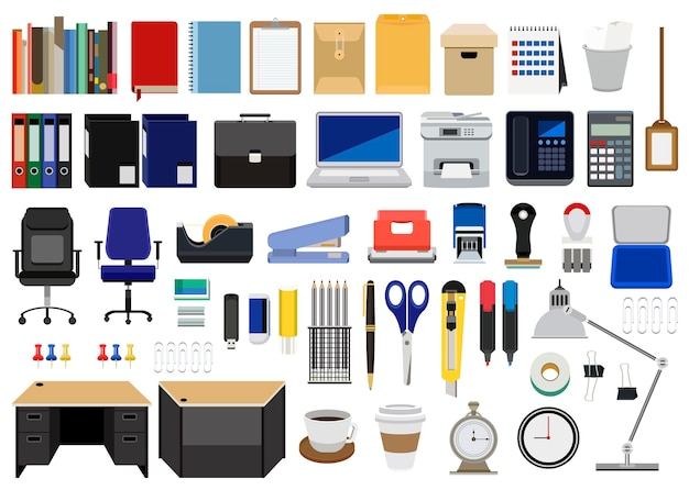 Collection of office stationery Free Vector