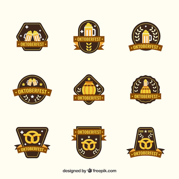 Collection of oktoberfest badge in flat design