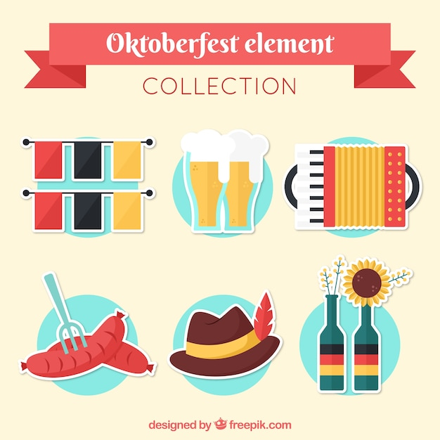 Collection of oktoberfest elements in flat design