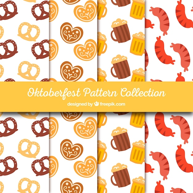 Collection of oktoberfest food and drink patterns
