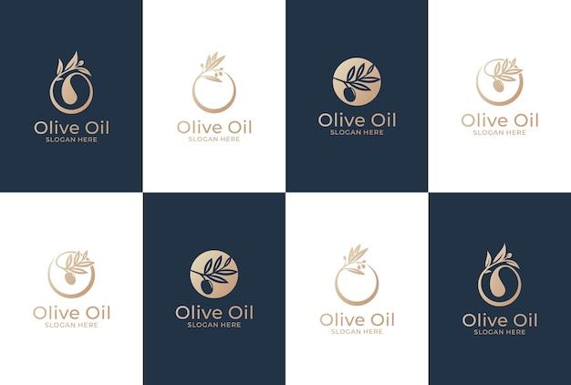 オリーブのロゴデザインのコレクション。天然オイルと健康的な製品。 Premiumベクター