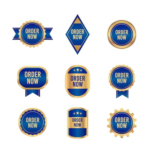 オーダーコレクションはブルーとゴールデンの色調のステッカー 無料ベクター