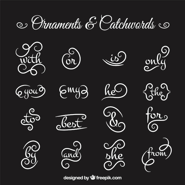 Collection of ornament and catchword in blackboard effect Free Vector