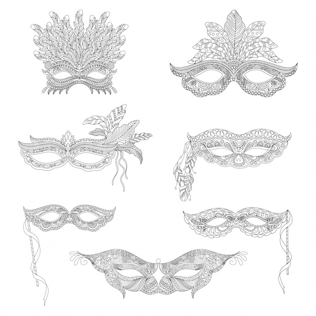 Collection of ornamental masks Premium Vector