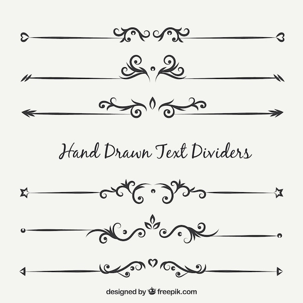 Collection Of Ornamental Text Separator Vector Free Download