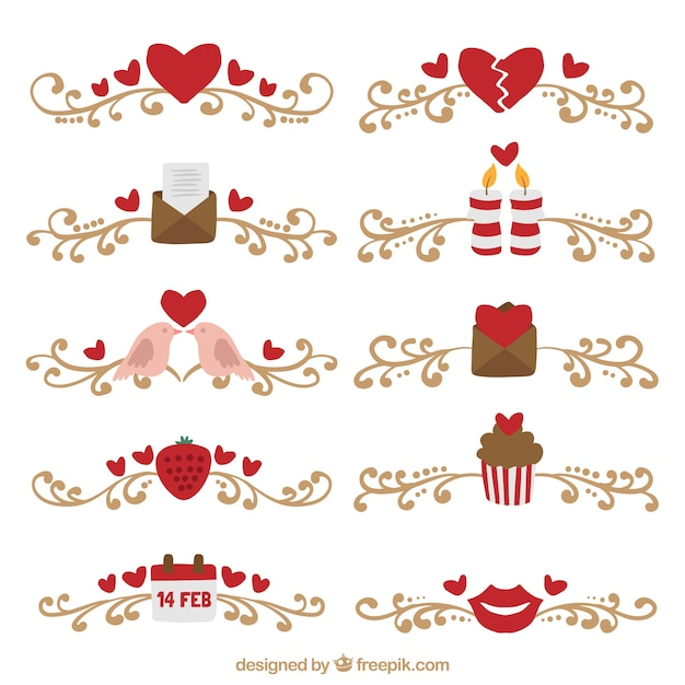 Collection Of Ornamental Valentine Borders Free Vector