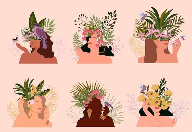 Коллекция абстрактных портретов райских женщин с разным цветом кожи и тропическим растением, минималистичный стиль. Premium векторы