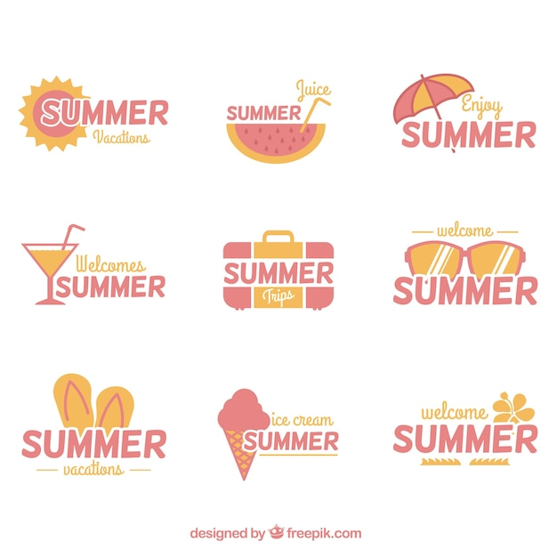 Collection of pastel summer stickers