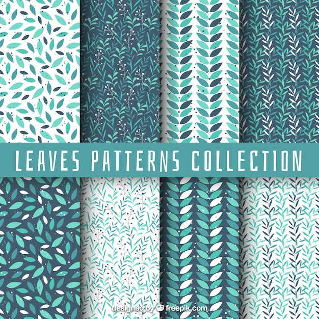 Collection of pattern with leaves Free Vector