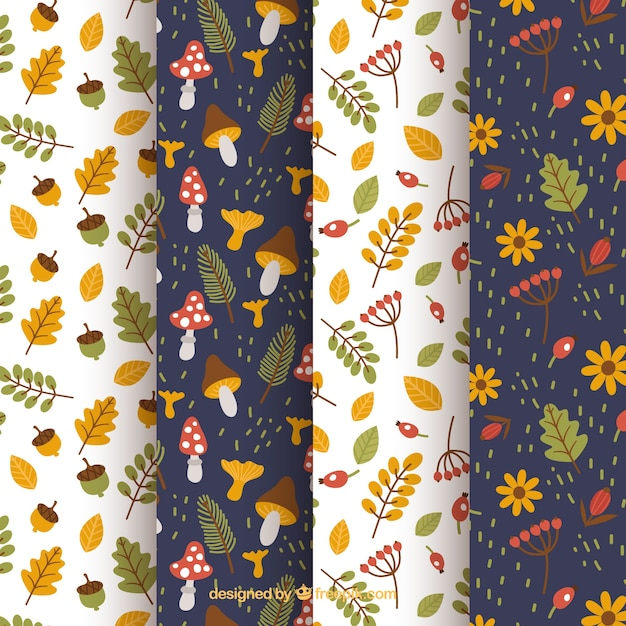 Collection of patterns, autumn elements