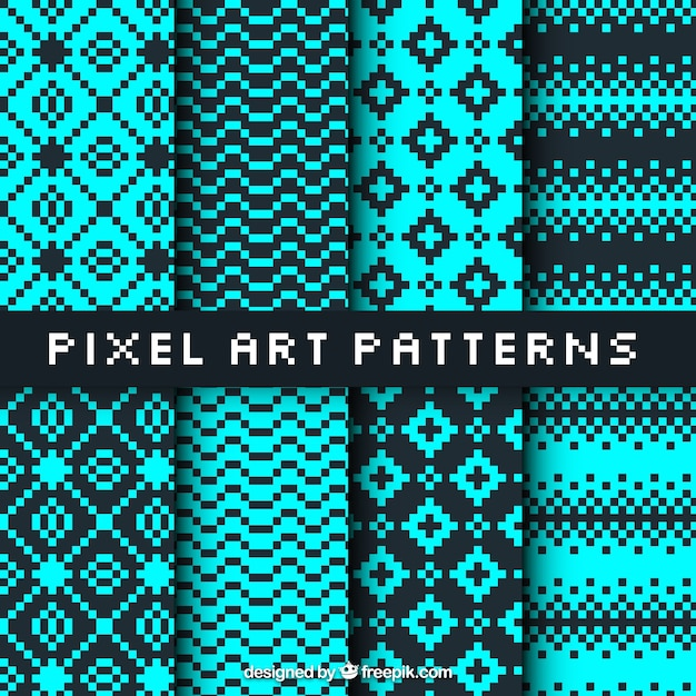 One Line Pixel Art : Collection of patterns in pixel art style vector free
