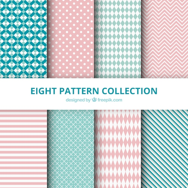 Collection of patterns with abstract drawings Free Vector