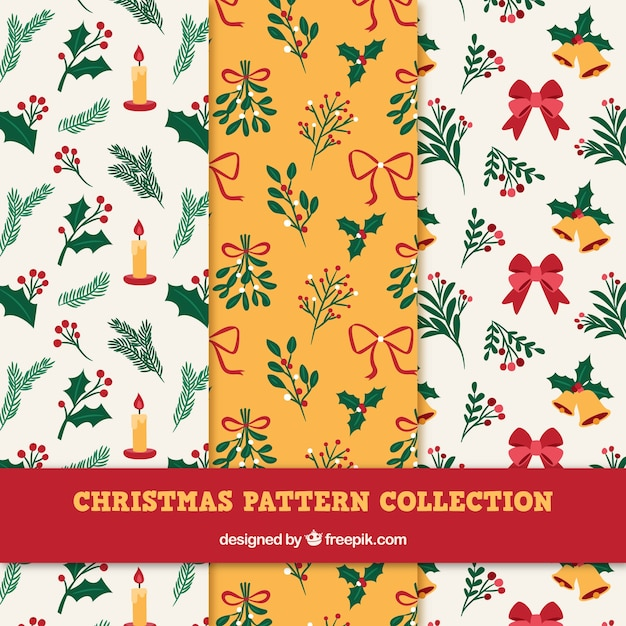 Collection of patterns with christmas decorations